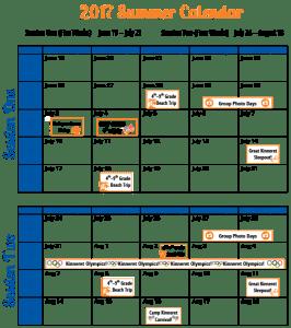 2017 Summer Calendar