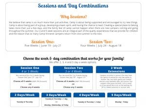 Sessions and Day combo information sheet