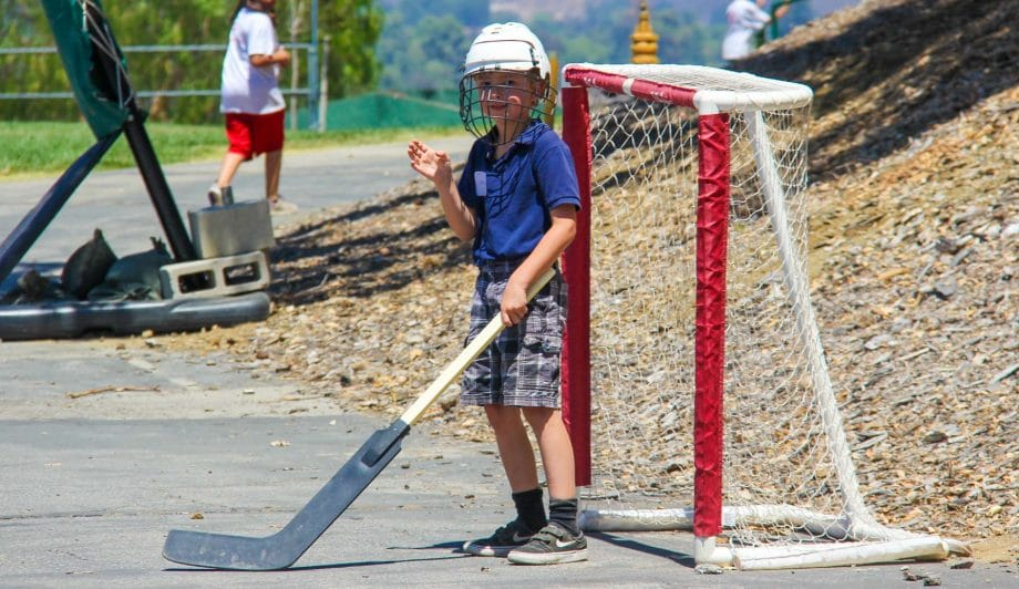 Camper being the hockey goaly