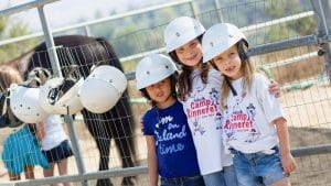 Campers with their horse helmets