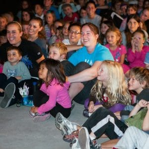 Campers at movie night