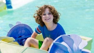 Boy on paddleboat