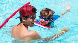 Camper in the pool