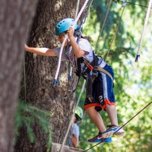 Camper on the high ropes