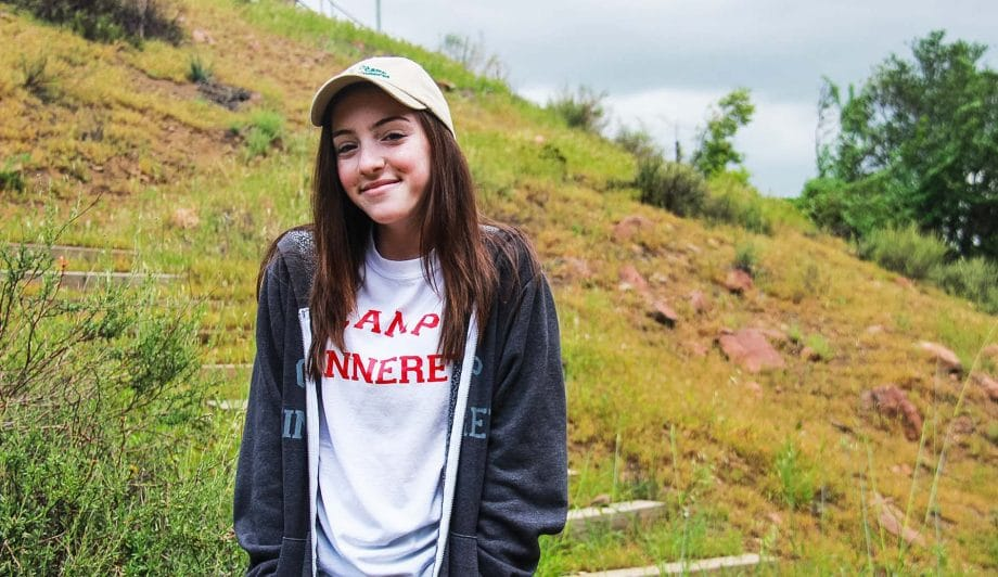 Girl in Camp Kinneret Shirt and Sweater