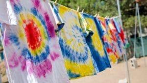 Tie dye shirts drying