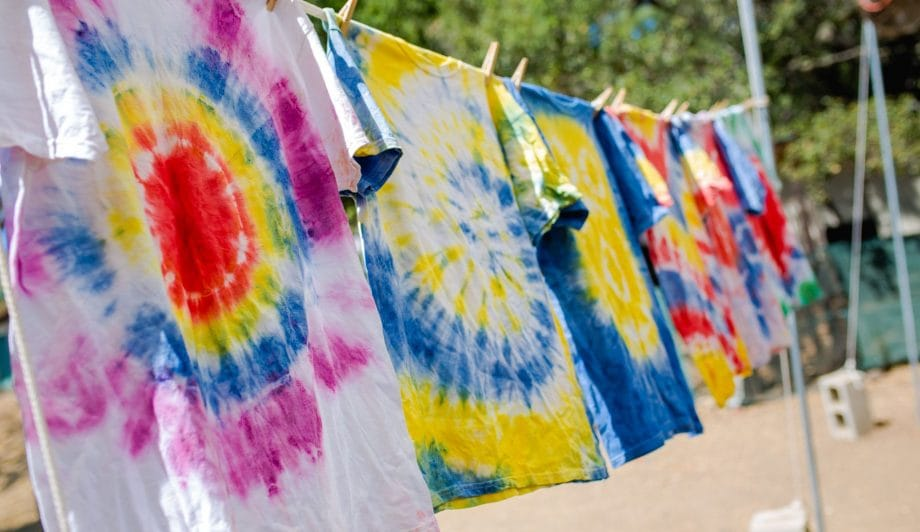 Tie dye shirts drying