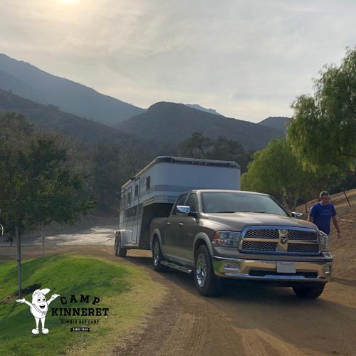 Truck hauling trailer